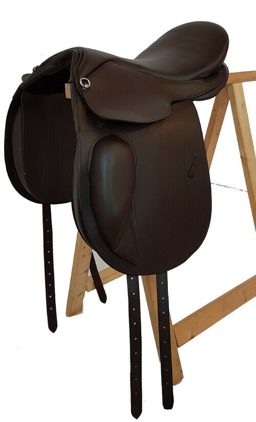 Treeless Dressage Saddle  Preston  From  Buffalo Leather Brown, WITH VELCRO PADS  best quality best price