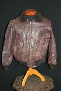 RARE-VINTAGE-1950-039-S-HERCULES-SHEEPSKIN-LINED-HEAVY-BROWN-LEATHER-JACKET-SIZE-LG