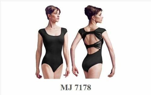 MIRELLA Jozette MJ7178 capsleeve leotard twin plait backbow Ladies szs black
