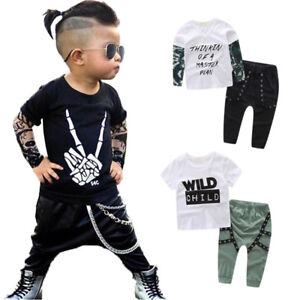 ed0646ae1 Toddler Baby Kids Boys Clothes Tattoo Sleeves T-shirt Tops Pants ...