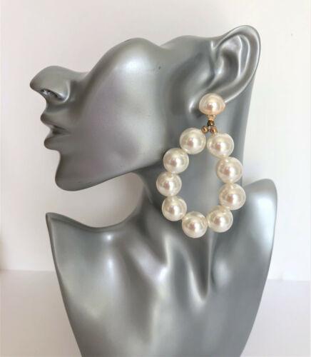 Pendientes DE ARO OVALADO Grande Con Grandes Perlas de Imitación 8 CMS de gota