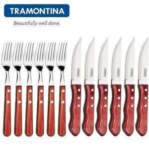 TRAMONTINA ® Churrasco JUMBO-Steakmes<wbr/>ser-Gabel-Set 12tlg. Grillen BBQ Besteckset