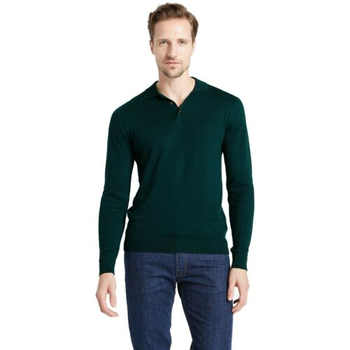 Marks /& Spencer Mens Long Sleeve Knitted Polo Shirt New 3 Button Cotton Rich Top