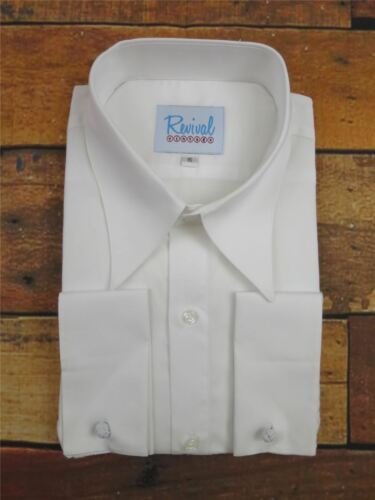 1940s Men's Shirts, Sweaters, Vests    Revival White Spearpoint Collar 1930s 40s Vintage Style All Cotton Mens Shirt £47.99 AT vintagedancer.com