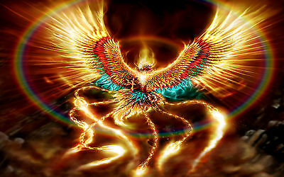 Fantasy Phoenix Canvas Print A4 Size  (297 x 210mm) !