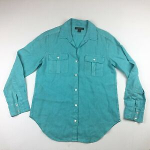 Tommy Bahama Womens Long Sleeve Blue Linen Button Up Shirt XS *