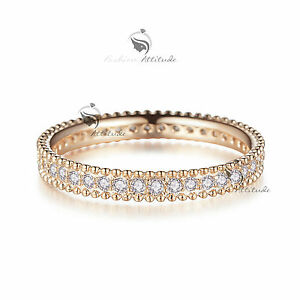 18K-Rose-Gold-GF-women-039-s-wedding-band-dress-Simulated-Diamond-ring