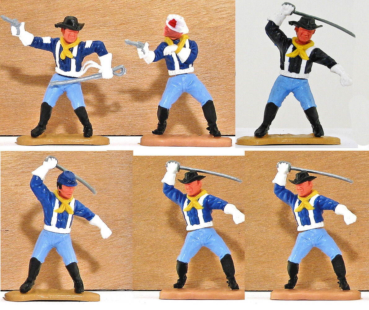 Six (6) Timpo Last Series 7th Cavalrymen with rare poses