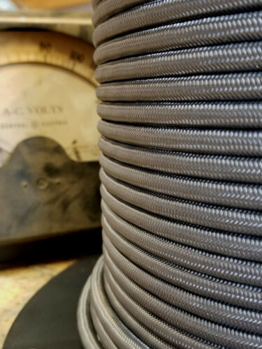 Nylon Vintage Electrical Flex Gun Metal Cloth Covered 3-Wire Round Pulley Cord