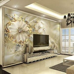 Custom Mural Wallpaper 3D Stereoscopic European Flower Pattern Body Art Mural