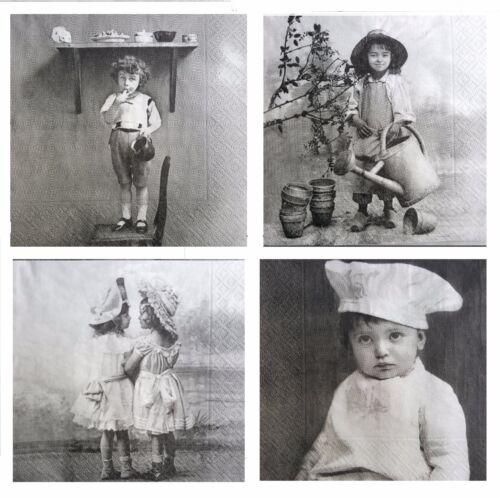 4 diferentes papel único de Almuerzo Servilletas Para Decoupage Sagen Vintage Niños