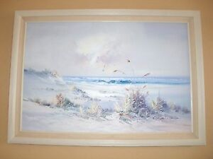 E-CARLSEN-PAINTING-OriginalPainting-CANVAS-Sign-BEACH-Seascape-Framed-29-034-x-41-034