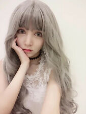 New Air Bang Daily Natural Long Curly Hair Synthetic Lady Full Flaxen Grey Wig