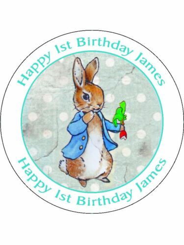 60 EDIBLE WAFER CUP CAKE TOPPERS PERSONALISED ANY TEXT PETER RABBIT UNCUT BLU