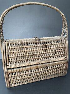 "Vintage Woven Purse Bag Basket Wooden Wicker Rattan ""Hinged"" Ethnic Decor Spain"