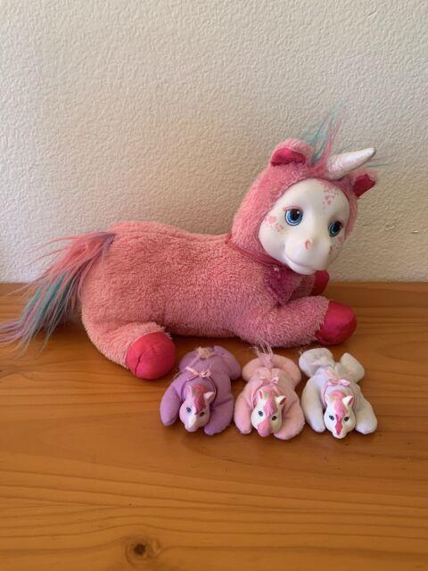HTF Pony Surprise Pink Starburst Unicorn Mom plush pony & 3 girl baby ponies
