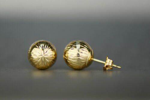 10 mm DIAMOND CUT Boule Clous D/'Oreilles 14k solide or jaune Push dos rond 4 mm