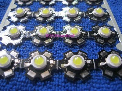 Epistar 50pcs 3W White High Power LED Light Emitter 6000-6500K + 20mm Star base