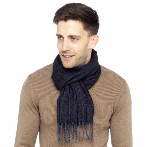 Tom Franks Mens Woven Herringbone Striped Scarf