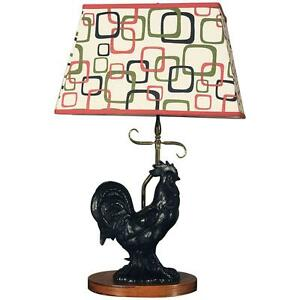 Ordinaire Image Is Loading Vintage Mid Century Black Ceramic Rooster Table Lamp