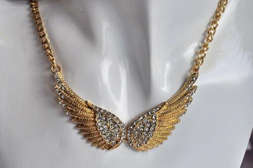 Hermoso ala de ángel Collier cadena colgante circonita dorado de oro