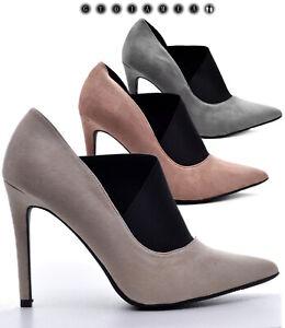 Scarpe-donna-decollete-punta-tacchi-alti-spillo-12-Decolte-camoscio-scamosciati