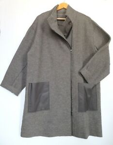 445 lana Rrp oversize Size 3 cotta cappotto Taupe Trim 100 pelle £ Oska 5c5y0p