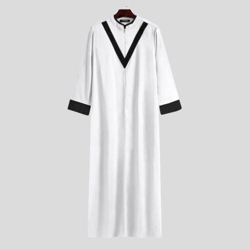 Men Muslim Clothing Saudi Arab Long Thobe Islamic Abaya Jubba Kaftan Tunic Dress