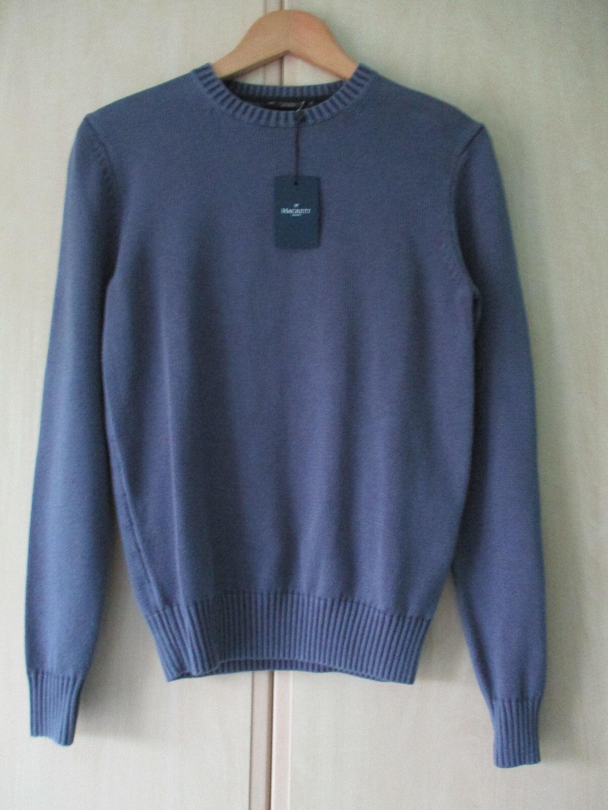 Homme En Hackett Xs Ras Étiquettes Du Taille Bleu Original Pull Coton Neuf Cou Avec qqgd5wr