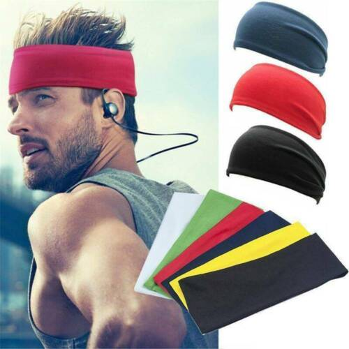 Men Wide Headband Sweatband Stretch Elastic Sweat Sport Yoga Run Hairband newly