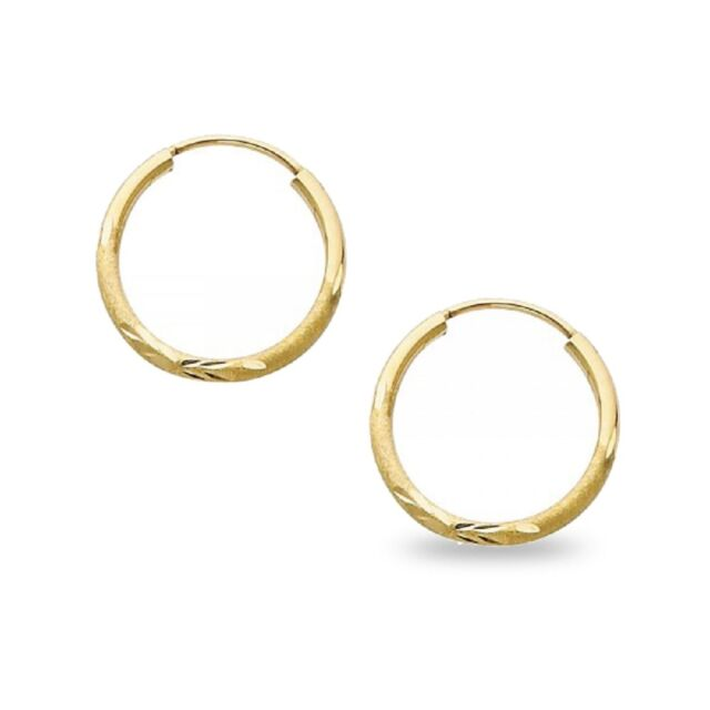 Round Endless Hoop Earrings Solid 14k Yellow Gold Diamond Cut Design Clic