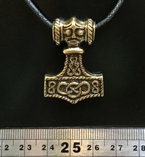 Thors Hammer Pewter Bronze Pendant Necklace Viking Odin Mjolnir Gothic Biker