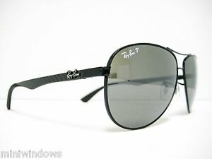 ef1f0aefb4a new RAY BAN CARBON FIBER Sunglasses BLACK GREY Polarized 61mm RB8313 ...