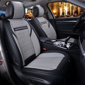 2 fundas para asientos ya referencias imitación cuero gris negro Nuevo Alta calidad