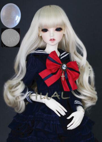 "7-8/"" 1//4 BJD Long Milky Blond Light Blonde Curl Wig LUTS Doll SD DOD MSD Hair AL"