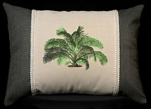 New Embroidered Tropical Palm Tree Pillow with New 12 x 16 Insert