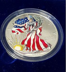 1999 Colorized American Eagle Fine Silver One Dollar