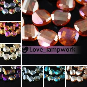 14mm 10Pcs Lampwork Loose Faceted Glass Crystal Twist Tile Beads Spacer Findings