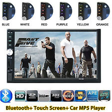 "HD 2 Din 7"" Bluetooth Car Stereo Radio Touch Screen MP5 MP3 Player FM USB TF AUX"