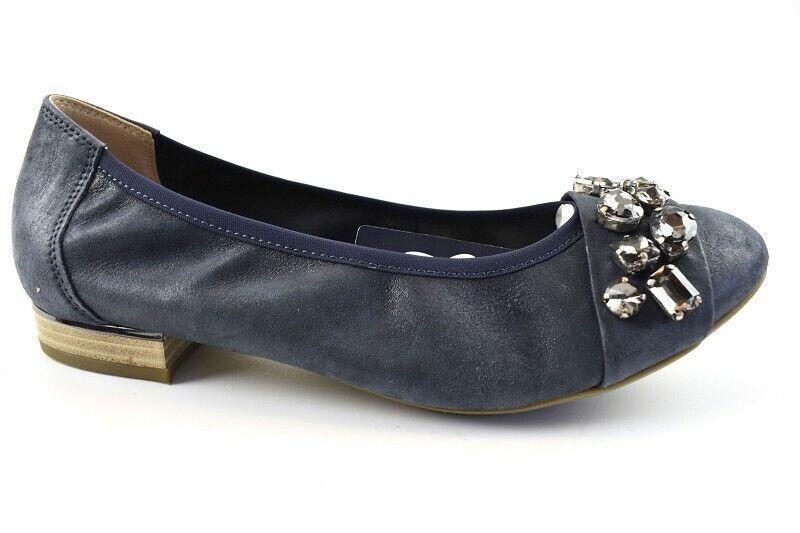 Gabor Ballerinas blau echte Leder Vario Riemchen Schuhweite G