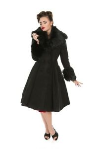 Hearts And Roses Fur Coats Winter Elsie Vintage 50S Swing Womens Black Retro H/&R