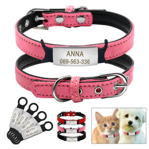 Soft-Suede-Leather-Small-Dog-Collars-amp-Slide-On-Tag-Engraved-Pet-Puppy-Cat-XXS-S