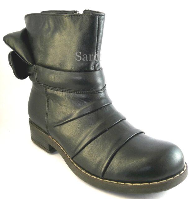 Hush Puppies HP Stiefelette 36 LEDER Boots Schwarz Black Schleife Warmfutter NEU