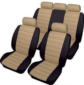 Luxury BEIGE//BLACK Leather Look Car Seat Covers Full Set Citroen C3 Picasso