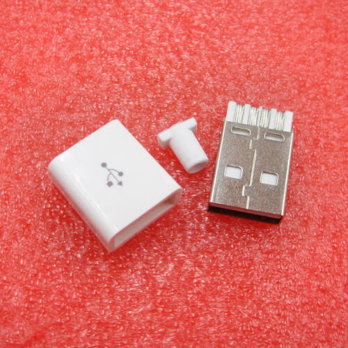10pcs USB 2.0 Connector Type A Male USB 5 Pin Plug Socket Connector white