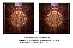 OFFERTA-2-SET-CORDE-D-039-ADDARIO-NB1152-Nickel-Bronze-11-52-PER-CHITARRA-ACUSTICA