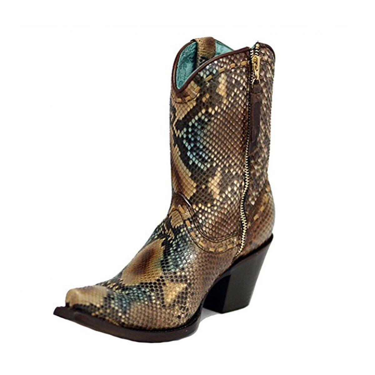 Corral Para Mujer python python python botas Cortas Top SNIP Toe Vaquera Suela de Cuero C2798  suministro de productos de calidad