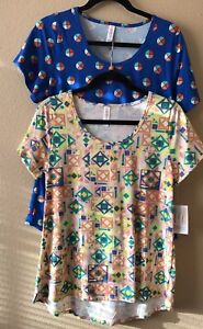LULAROE Classic T Small 2 Shirts Tops Tiles Squares Triangles Wheels Circles NWT