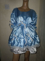 Adult Baby Sissy Blue White Satin Dress 46 Pretty Double Layer Frill Hem
