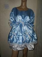 Adult Baby Sissy Blue White Satin Dress 50 Pretty Double Layer Frill Hem